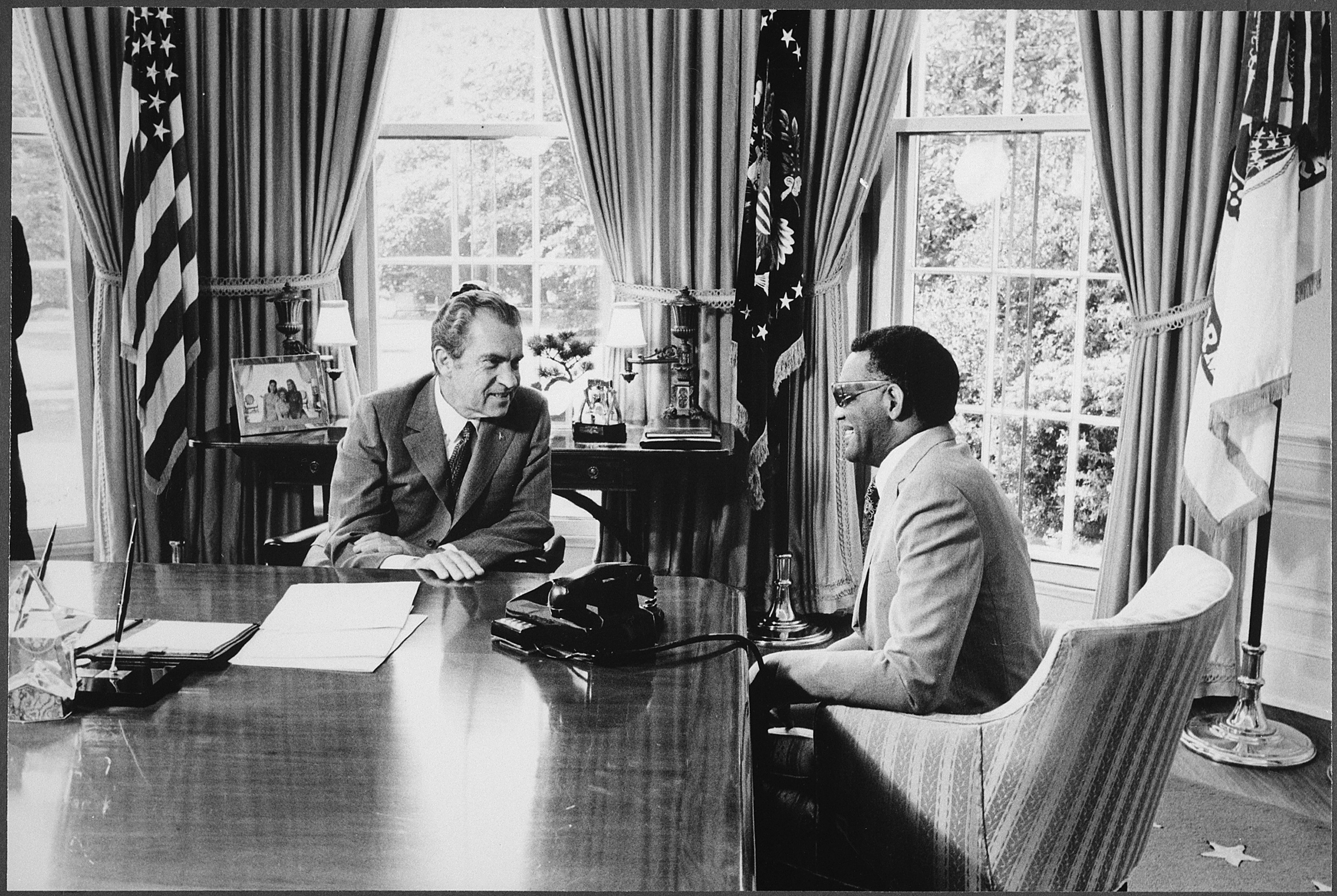 U.S. President Richard Nixon meets with Ray Charles in the Oval Office of The White House, Washington, D.C., September 15, 1972