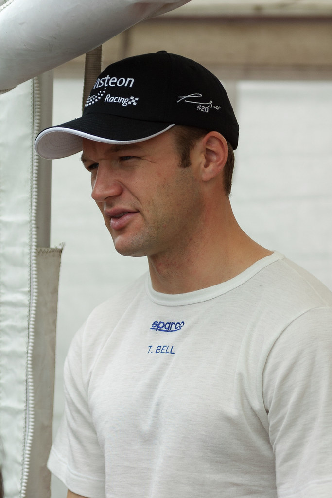 Townsend Bell of Patrick Racing gives an interview at the 2002 CART race at Portland International Raceway