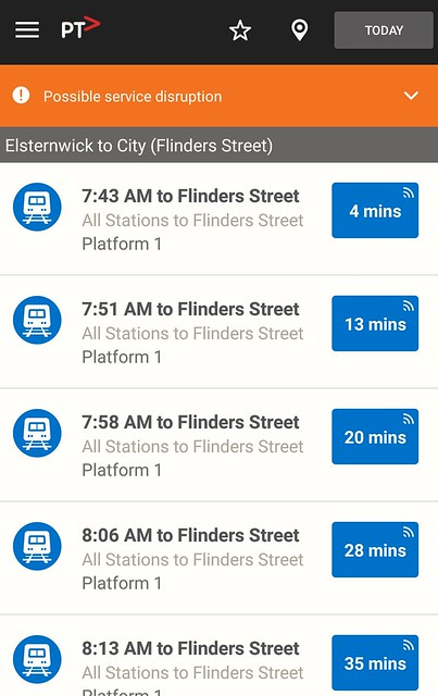 Train departures from Elsternwick