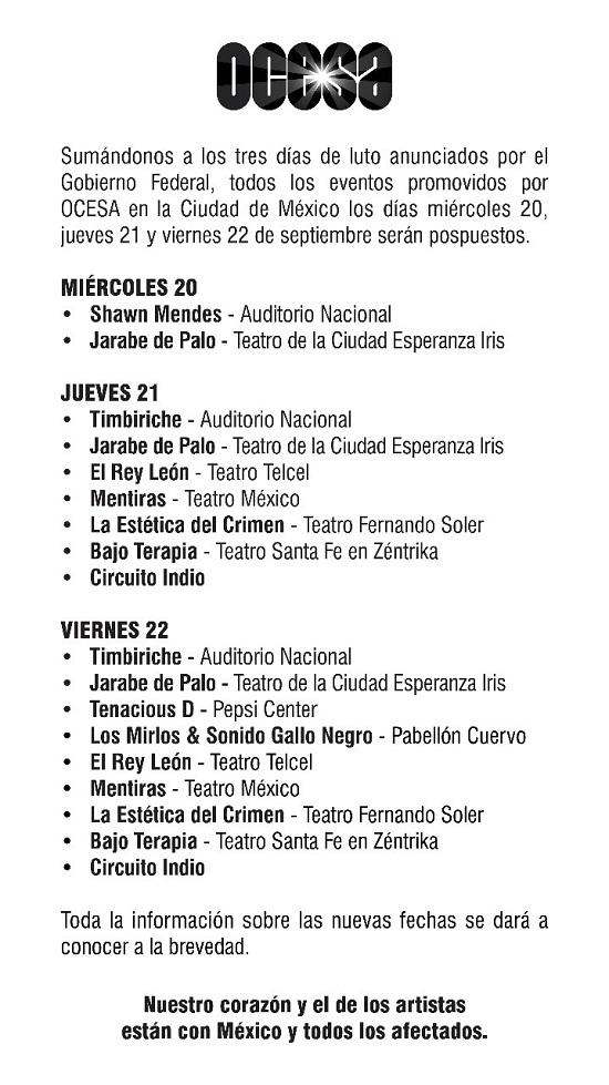 PRÓXIMOS EVENTOS CIUDAD DE MÉXICO *ALAFUGA DF*