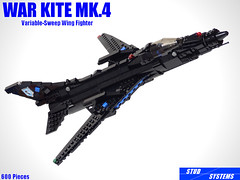 レゴ ウォーカイトMk.4可変翼戦闘機(LEGO War Kite Mk.4 Variable-Sweep wing fighter)
