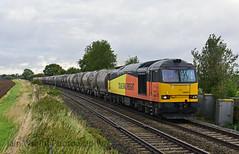 Colas Rail 60021 6L44 Oxwellmains Dunbar to West Thurrock at Langham Jct in drab light! 30 mins later full sun....! 14-09-2017
