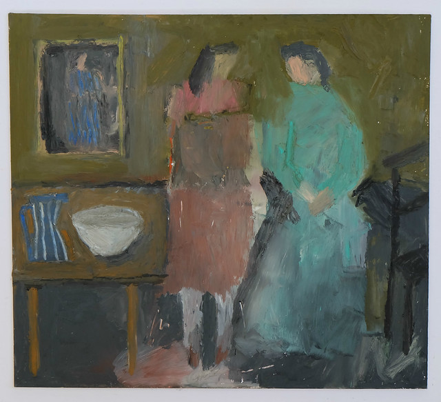 interior with figures and striped jug