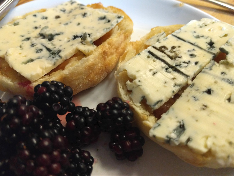 Blue cheese and blackberries for breakfast