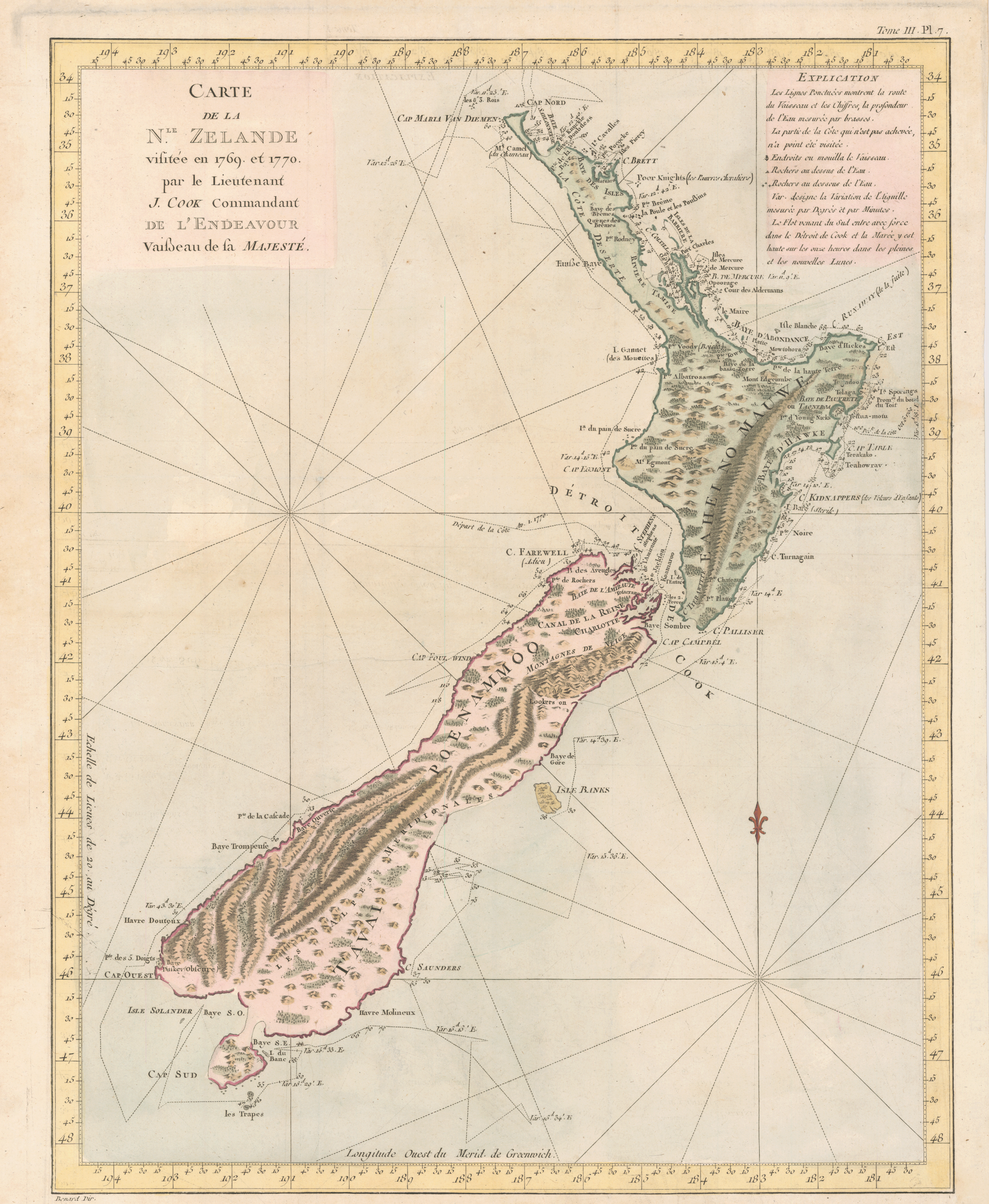 French copy of Cook's foundation map of New Zealand, showing the track of the Endeavour around both islands, from October 6, 1769, to April 1, 1770. Copperplate map, with added color, 46 × 36 cm. From John Hawkesworth's Relation des voyages entrepris par ordre de Sa Majesté Britannique . . . (Paris, 1774).