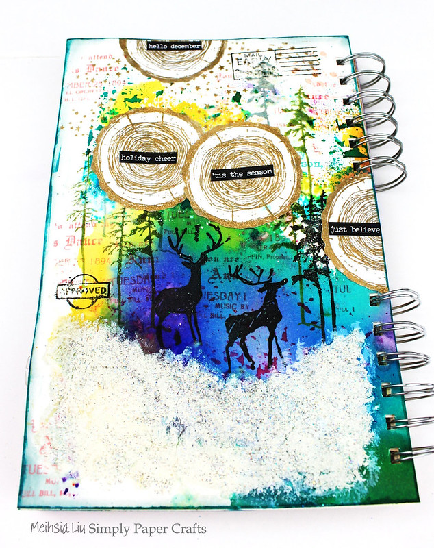 Meihsia Liu Simply Paper Crafts Mixed Media Art Journal Winter Scene Tim Hotz Simon Says Stamp