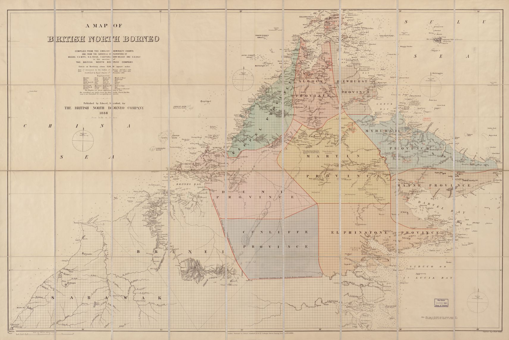 Map of North Borneo, 1888