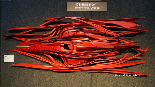 """Scuderia Ferrari-15"" wood sculpture by Dennis Hoyt at AFAS Exhibit - Award Night"