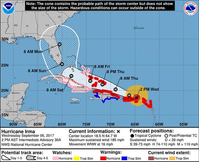 Posible trayectoria de Irma
