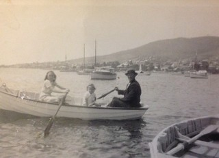 Margaret and Phyllis fishing with their dad, Henry
