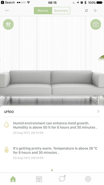 uHoo iOS App - Home - Rooms