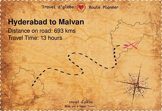 Map from Hyderabad to Malvan