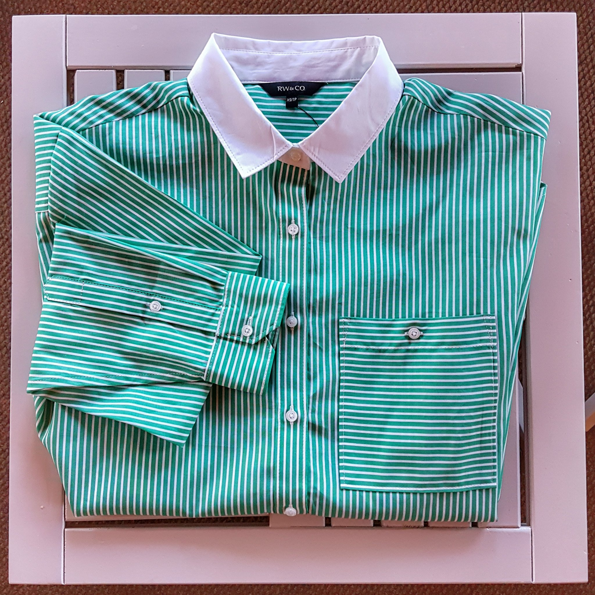 RW and Co Green Striped Poplin Shirt