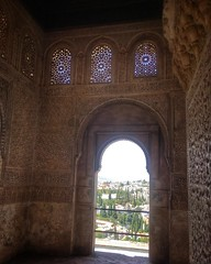 """The Palacio de Generalife (Spanish pronunciation: [xe.ne.ɾa.ˈli.fe]; Arabic: جَنَّة الْعَرِيف Jannat al-'Arīf, literally, """"Architect's Garden"""") was the summer palace and country estate of the Nasrid rulers of the Emirate of Granada in Al-Andalus, now be"""