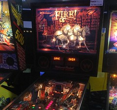 Y'all. There's a pinball machine whose entire theme is just FIRE! With horses? Idk. 😹🔥 . . . . #pinballz #pinball #arcade #fire #lol #birthdayparty