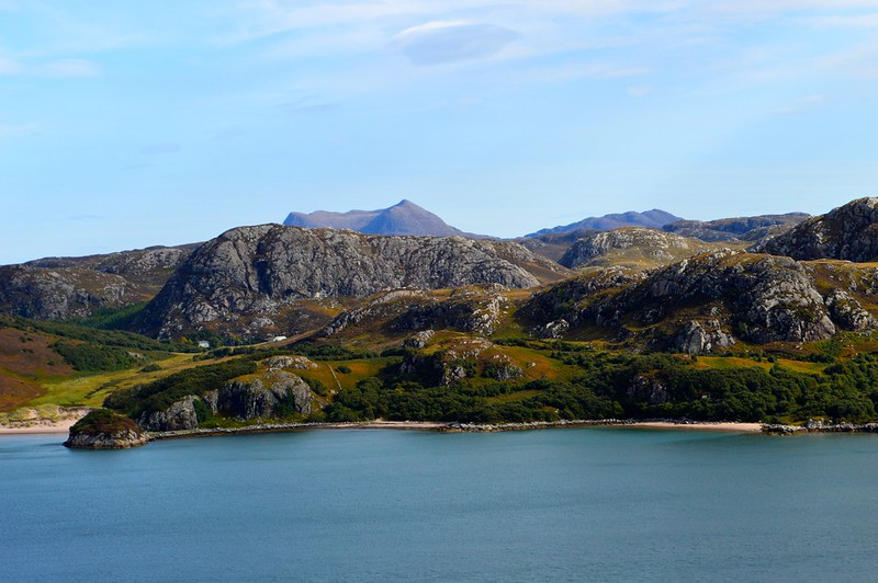 this is a picture of Gruinard Bay on  sunny day
