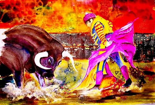 'Bull Fighter,' a watercolor painting by Mike Bisceglia, member SSAA. Sanford Seminole Art Association Exhibit
