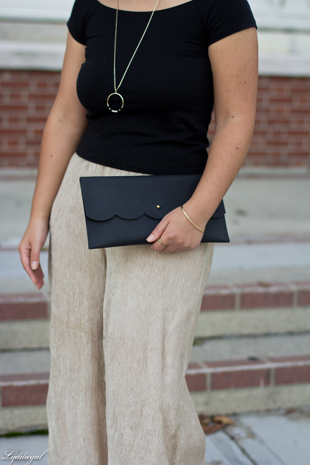 off the shoulder tee, shimmer pants, scalloped clutch-5