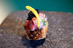 20170827-05-Beef tartare with croquettes at FIco in Hobart