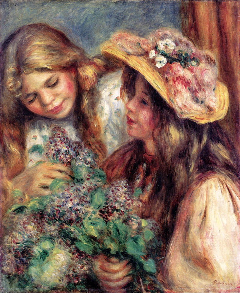Girls with Lilacs by Pierre Auguste Renoir, 1890