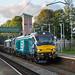 Class 68, 68034 & Class 66, 66421 work 6K27 Carlisle to Crewe Basford Hall through Leyland station 30.08.2017