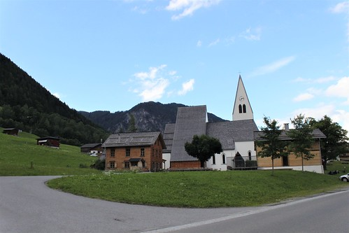 white church and houses in Brand