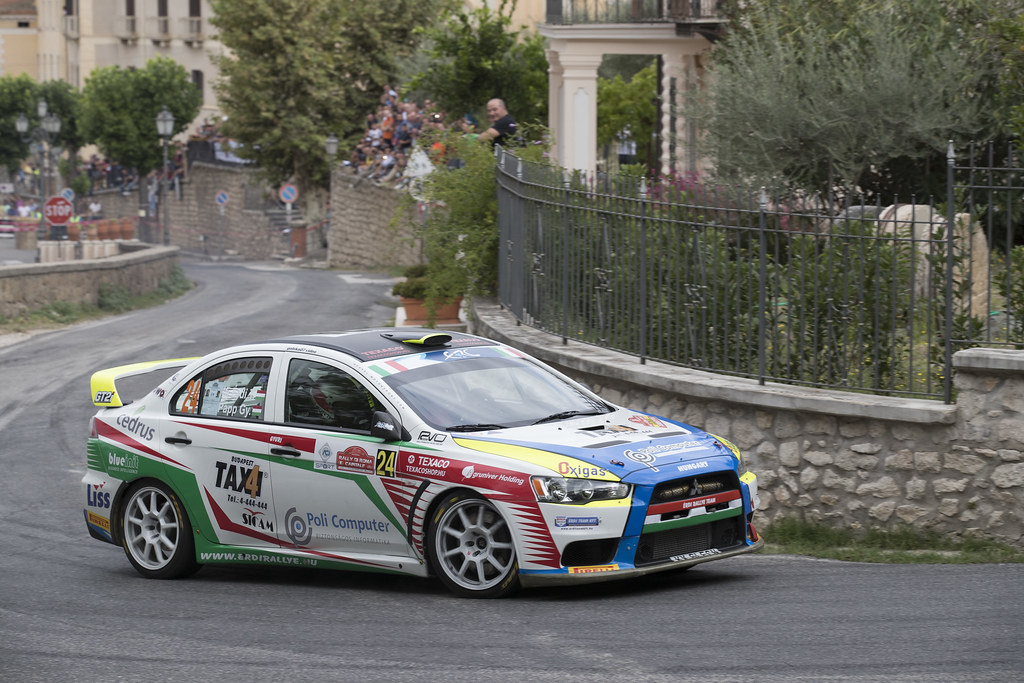 24 ERDI Tibor Jr. (HUN) PAPP Gyorgy (HUN) Mitsubishi Lancer Evo X action during the 2017 European Rally Championship ERC Rally di Roma Capitale,  from september 15 to 17 , at Fiuggi, Italia - Photo Gregory Lenormand / DPPI