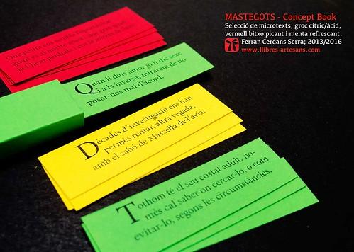 MASTEGOTS. Microcontes i aforismes seleccionats en diferents sabors. Concept Book de Ferran Cerdans Serra.