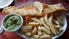 Cod & Chips With Mushy Peas.