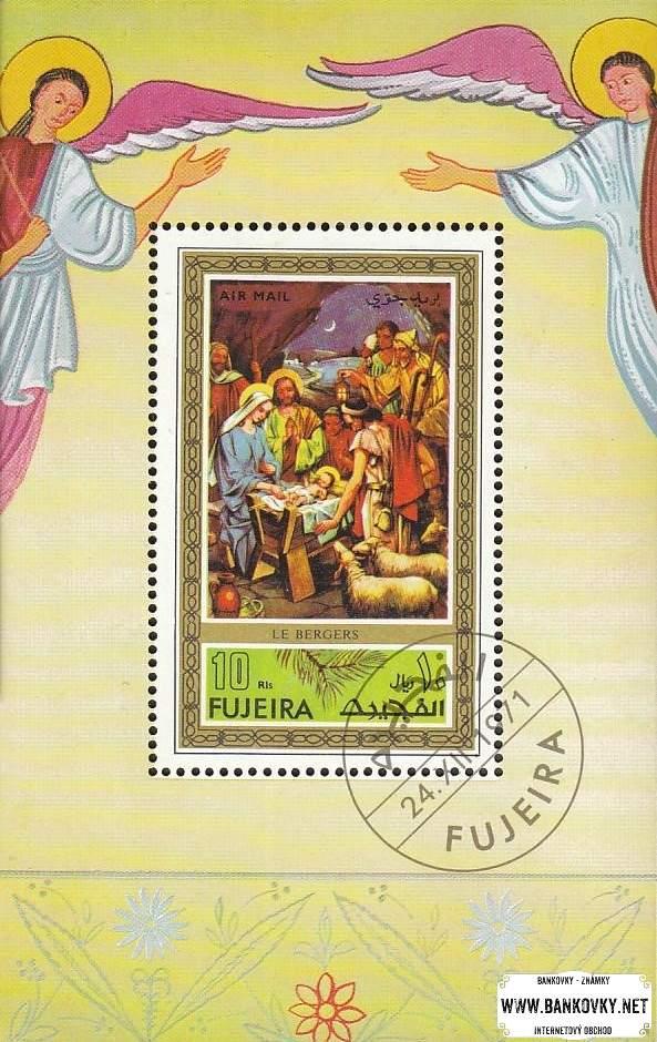Známky Fujeira 1971 Vianoce, razítkovaný hárček