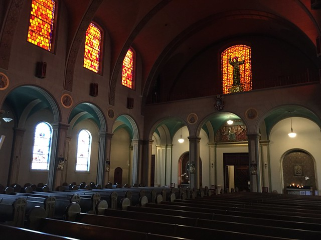 Mission Dolores Basilica inside orange glass