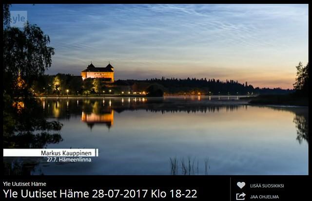 Valaisevat yöpilvet Yle Häme tv-uutiset. Valokuvaaja: Markus Kauppinen