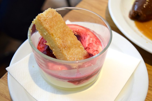 Lemon Posset with Cherry Compote & Shortbread at Lupins, London | www.rachelphipps.com @rachelphipps