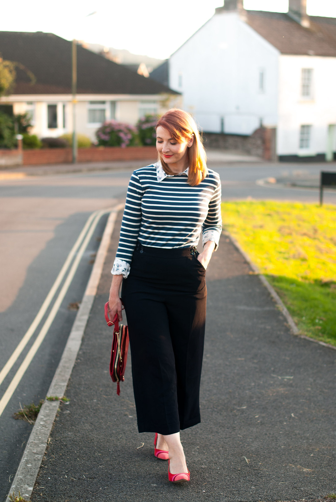Ways to style a Breton stripe top: Office chic/workwear - with navy wide leg cropped pants, red block heels and layered with a print shirt | Not Dressed As Lamb, over 40 style