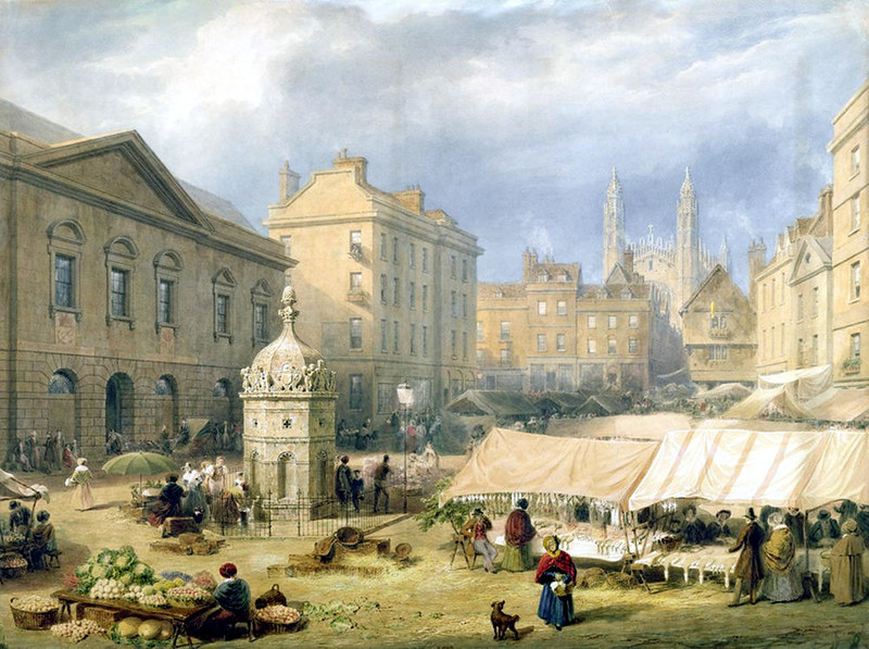 Cambridge Market Place by Frederick MacKenzie, 1841