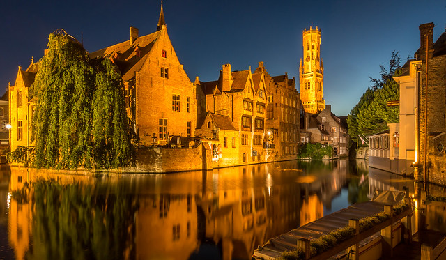 Canal in Bruges at blue hour