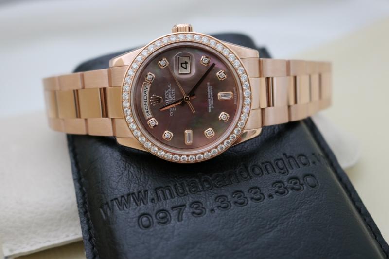 Đồng hồ rolex day date 6 số 118205 – vàng hồng 18k – mặt đá xà cừ – size 36mm