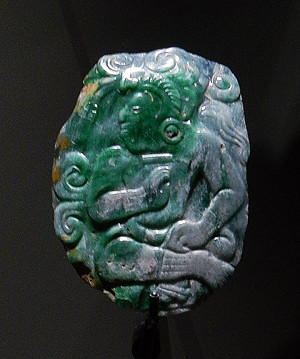 A piece of carved Mayan jade in the Antwerp Anthropology Museum in Belgium
