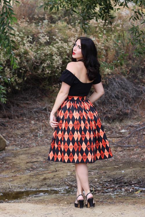Vixen by Micheline Pitt Ben Cooper Trick R Treat Print Vixen Swing Skirt