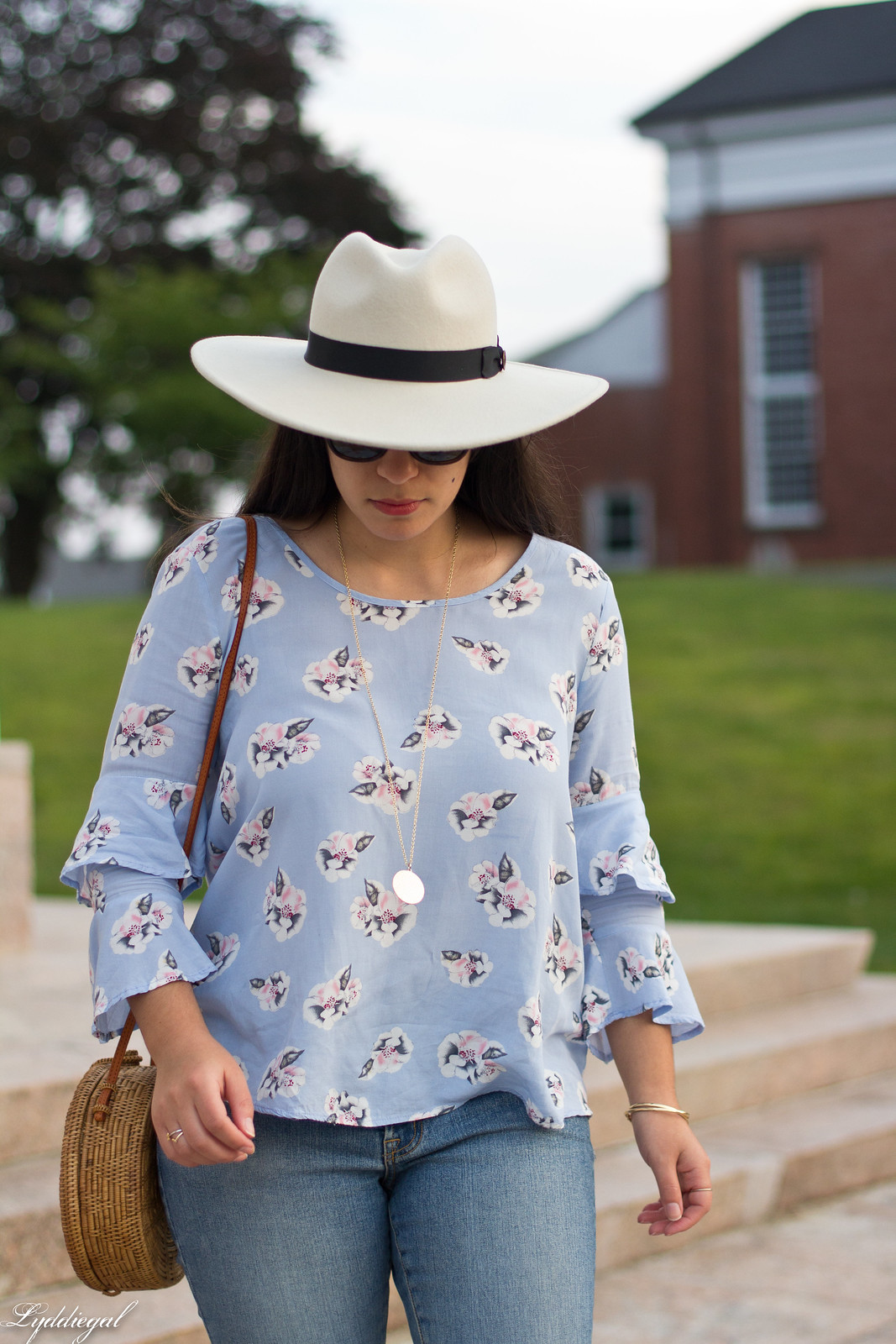 Floral bell sleeve blouse, raw hem jeans, scalloped mules, fedora