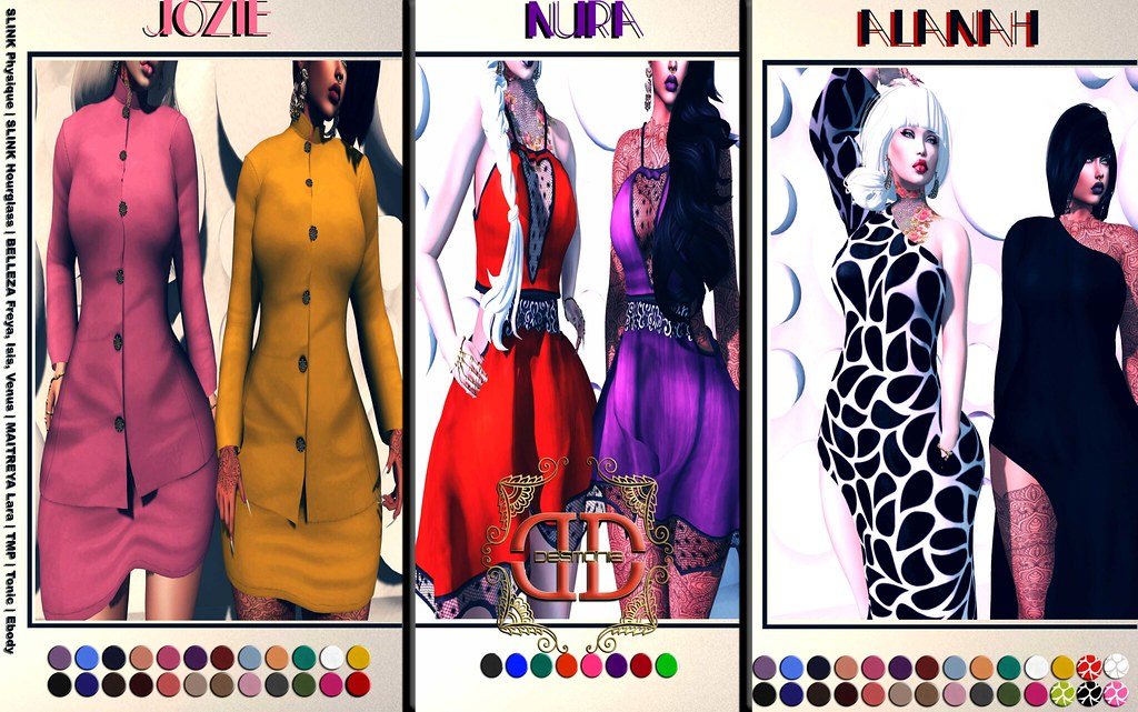 Desmonia​ Alanah, Jozie, Nura Fatpacks now at in the mainstore for Glam Couture Fashion Crawl at 50% OFF