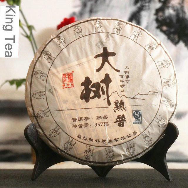 Free Shipping 2015 Chen Sheng Hao (DaShuPuCha)Cake Beeng 357g Meng Hai Organic Pu'er Ripe Tea Cooked Shou Cha Weight Loss Slim Beauty