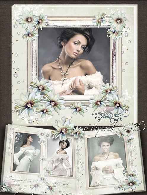 Template of vintage romantic photobook for Photoshop