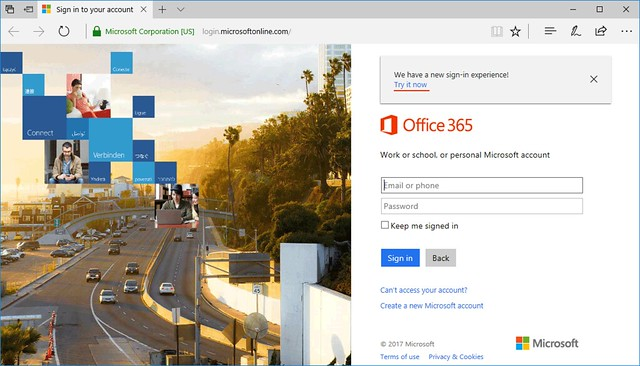 New sign-in page for Office 365