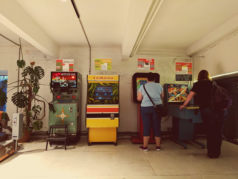 At the museum of Soviet arcade games
