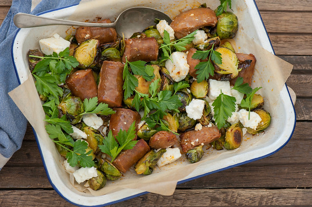 Fast Roast Chorizo & Brussels Sprouts with Hot Feta