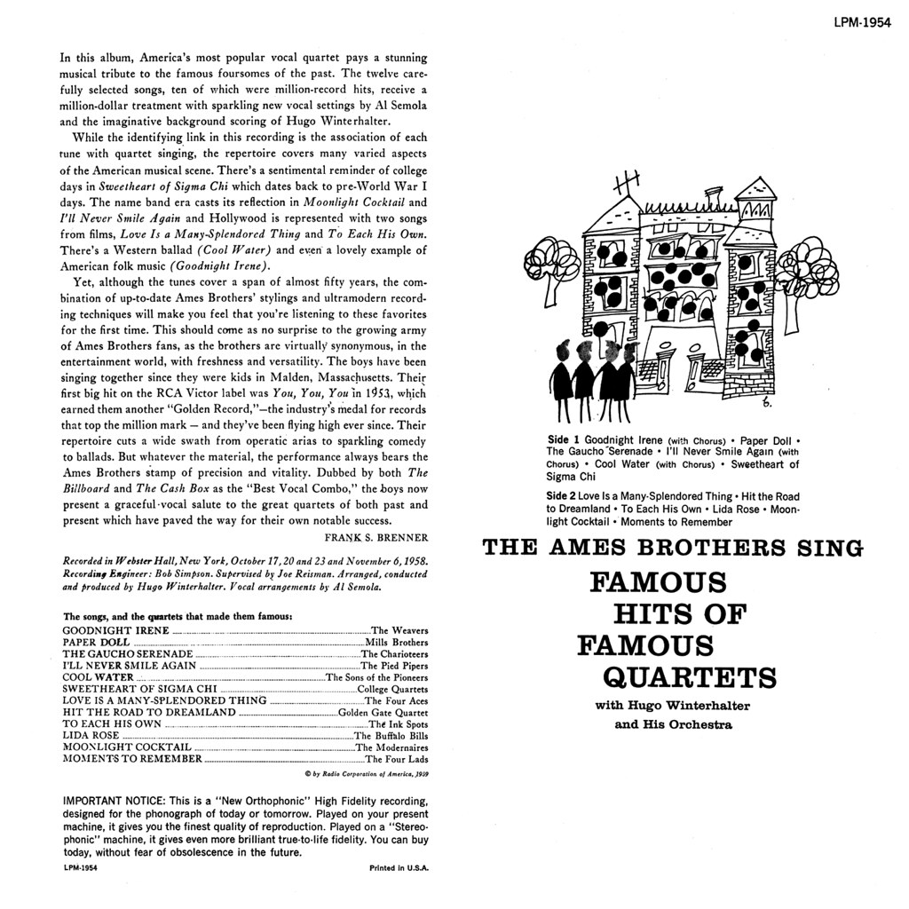 The Ames Brothers - Famous Hits of Famous Quartets