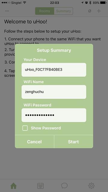 uHoo iOS App - Setup #4