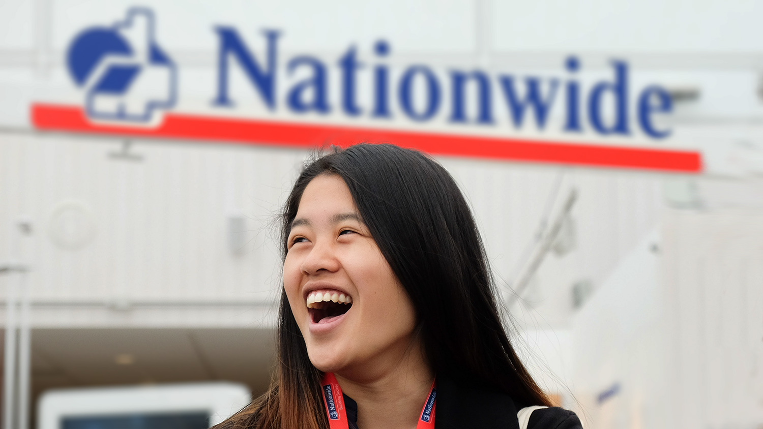 Natasha Yip outside the Nationwide building in Swindon