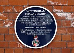 Photo of Nottingham Midland railway station blue plaque